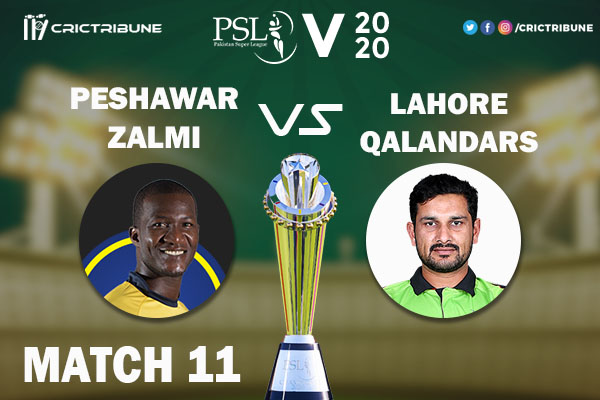 PES vs LAH Live Score 11th Match between Peshawar Zalmi vs Lahore Qalandars Live on 28 February 2020 Live Score & Live Streaming