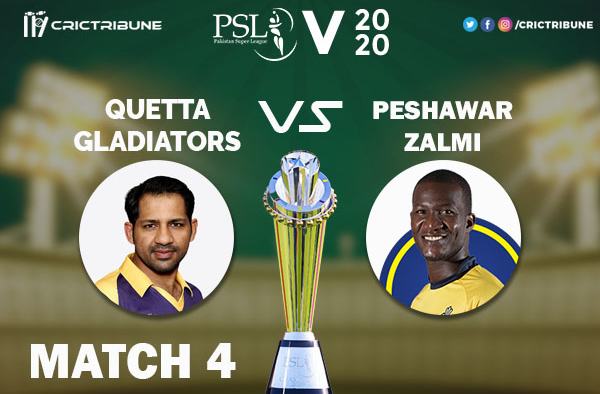 QUE vs PES Live Score 4th Match between Quetta Gladiators vs Peshawar Zalmi Live on 22 February 2020 Live Score & Live Streaming