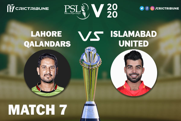 LAH vs ISL Live Score 7th Match between Lahore Qalandars vs Islamabad United Live on 23 February 2020 Live Score & Live Streaming