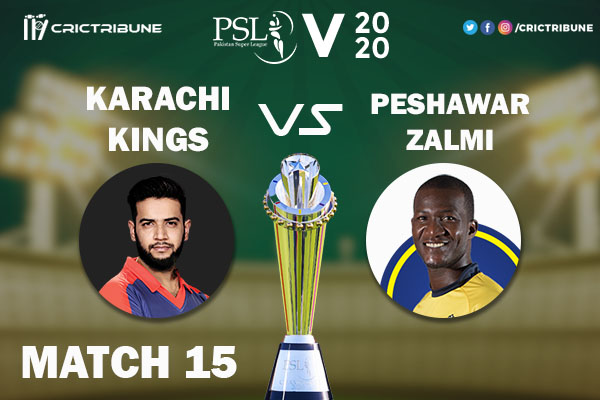 PES vs KAR Live Score 15th Match between Peshawar Zalmi vs Karachi Kings Live on 02 March 2020 Live Score & Live Streaming