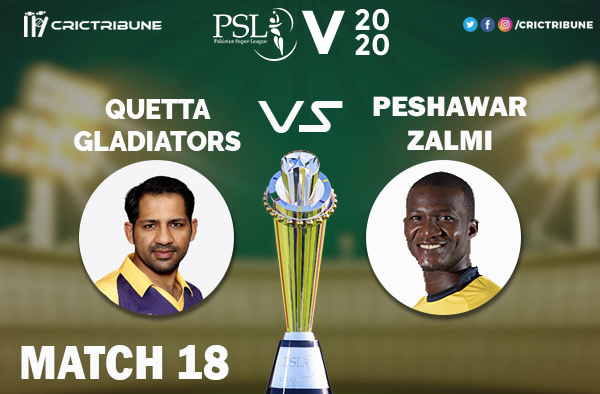 PES vs QUE Live Score 18th Match between Peshawar Zalmi vs Quetta Gladiators Live on 05 March 2020 Live Score & Live Streaming