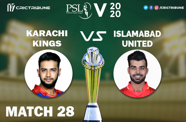 ISL vs KARLive Score 28th Match between Karachi Kings vs Islamabad United Live on 14 March 2020 Live Score & Live Streaming.