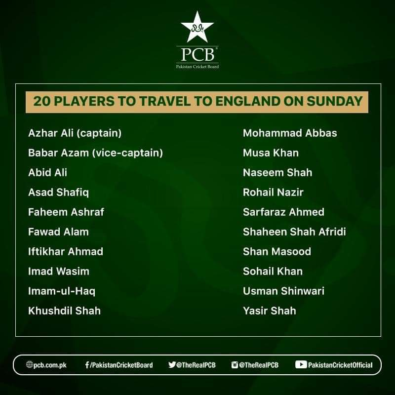 Pakistan tour of England: 20 players to travel England on Sunday. Initially, the Pakistan Cricket Board (PCB) revealed a 29-men-squad for Pakistan tour of England but amidst the positive testing for the COVID-19 tests, the squad has been shortened to 20 players and only the listed below names will be visiting on 28th July, Sunday.