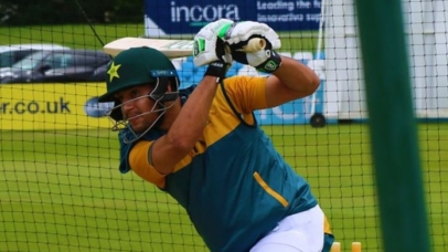 Haider Ali plays professional shots as the practice session goes on in Derby