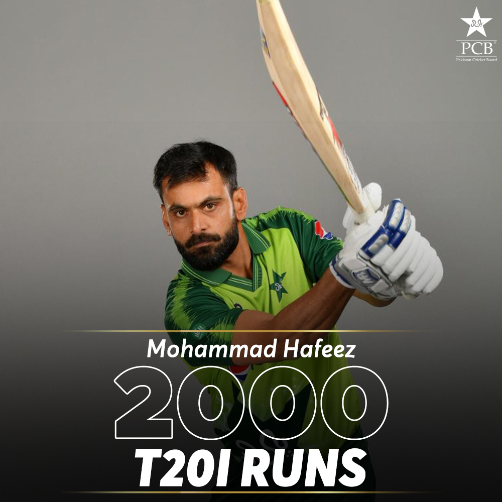 Mohammad Hafeez becomes the third Pakistani to cross 2000 T20I runs. Image courtesy: PCB, Twitter