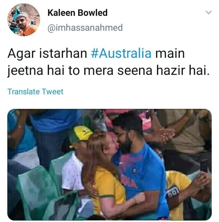 Watch memes: Indian fan proposes Australian girl during Ind vs Aus match 2